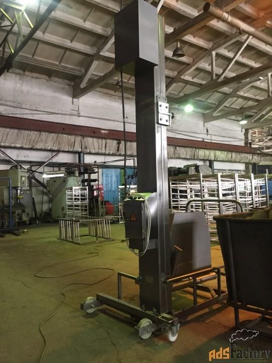 Столбовой мачтовый подъёмник-опрокидыватель передвижной