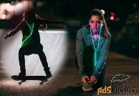 Светящиеся проводные наушники с зеленым EL свечением