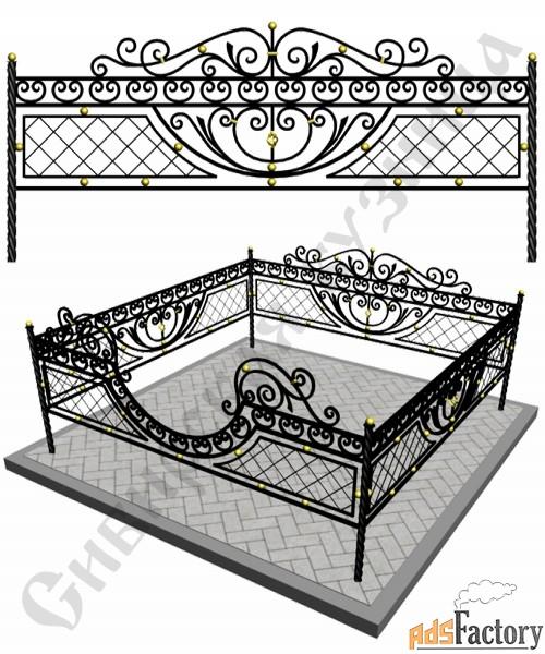 Изготовление кованой оградки на могилу №6 (по вашим размерам)