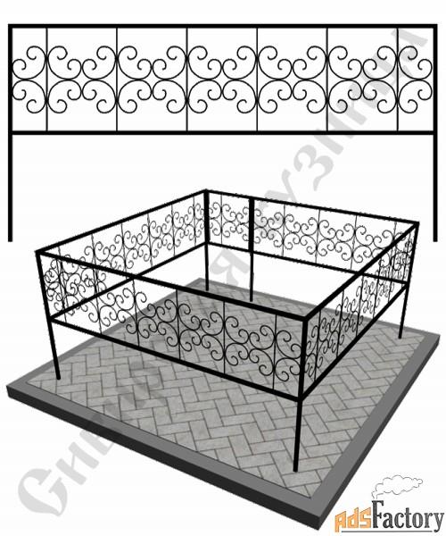 Изготовление кованой оградки на могилу №20 (по вашим размерам)