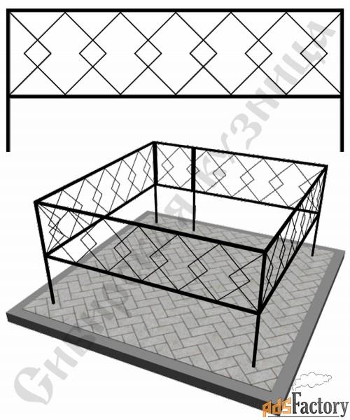 Изготовление кованой оградки на могилу №21 (по вашим размерам)