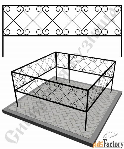 Изготовление кованой оградки на могилу №22 (по вашим размерам)