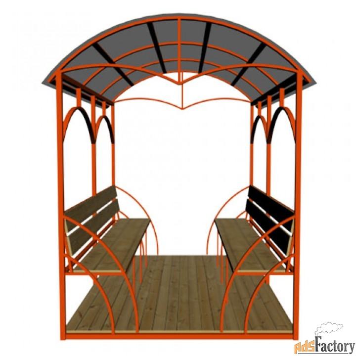 Беседка металлическая «Дружба» с крышей из поликарбоната, с скамейками