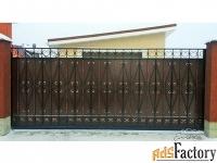 Кованые ворота и калитки с стальным листом - изготовим на заказ