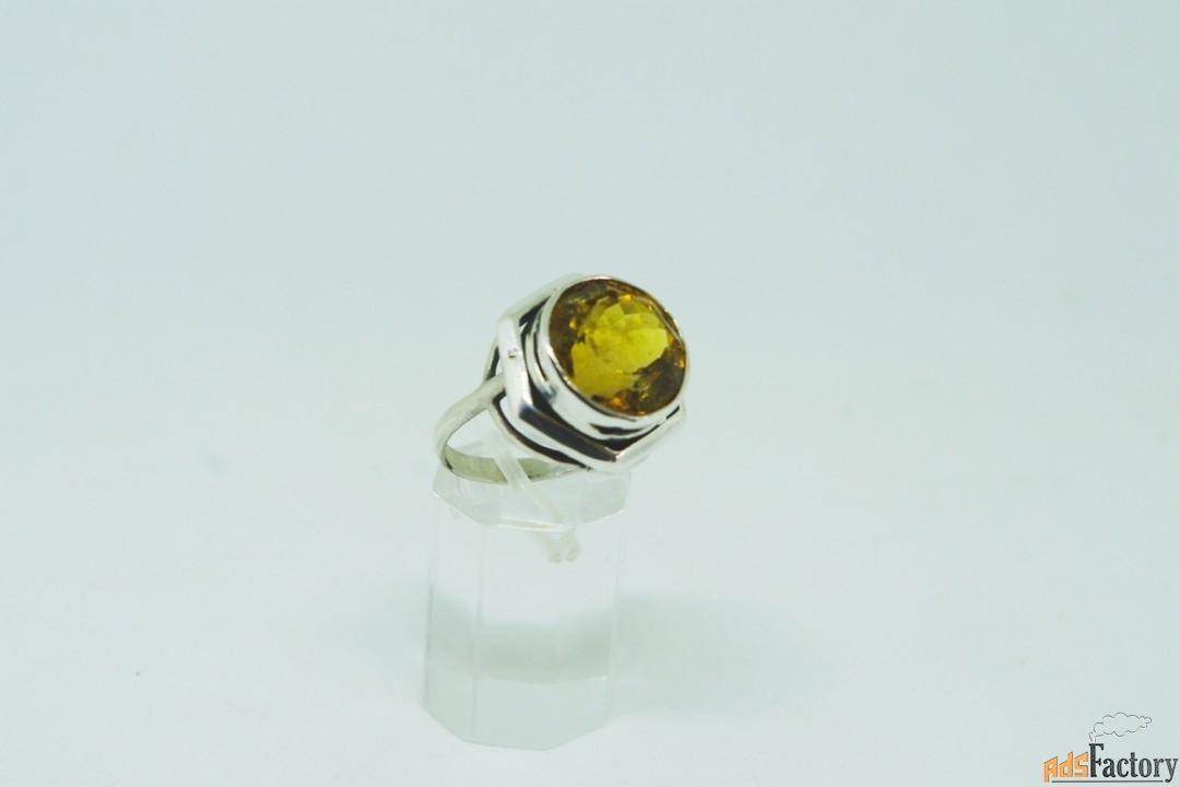 Кольцо цитрин цвета мадера