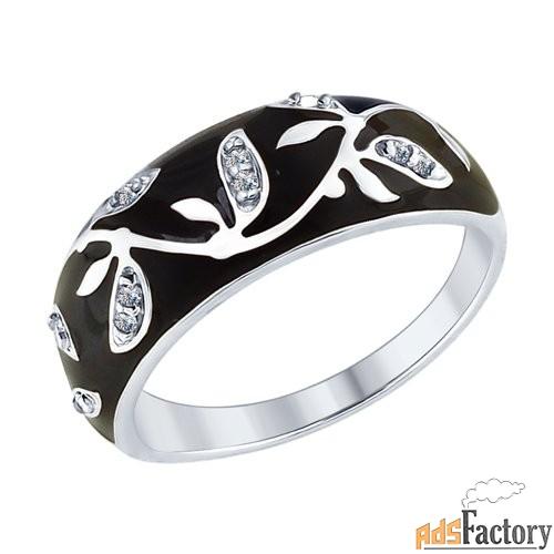 Кольцо из серебра с эмалью с фианитами SOKOLOV