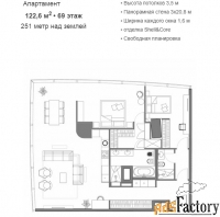3 - комн.  квартира, 122.6 м², 69/95 эт.