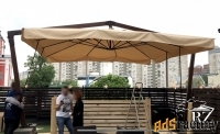 зонт на двойной опоре 6 х 6 м.