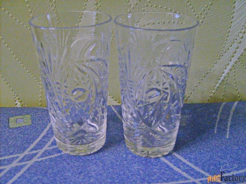 два хрустальных стакана периода ссср.