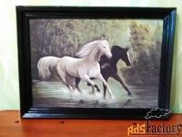 картина пара лошадей.