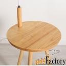 торшер со столиком из натурального дерева