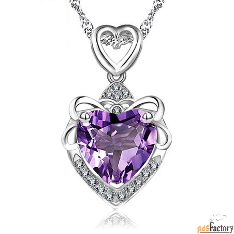 серебряный циркон. ожерелье сердце океана