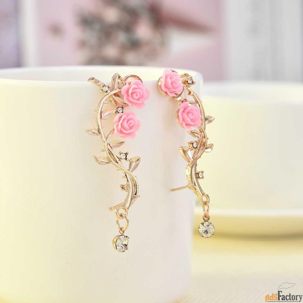 серьги с розовым листом розы