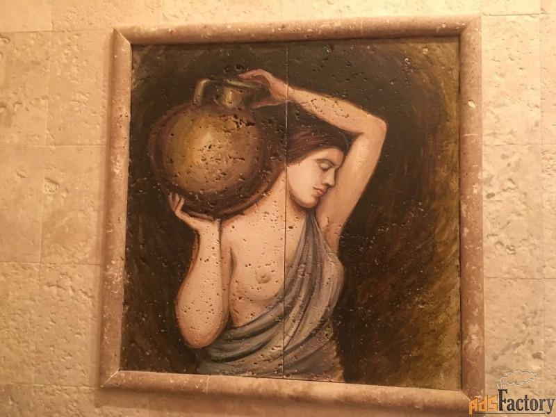 картины из натурального камня и роспись на травертине в сочи
