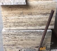 серый коричневый состаренный камень травертин 15*300*600