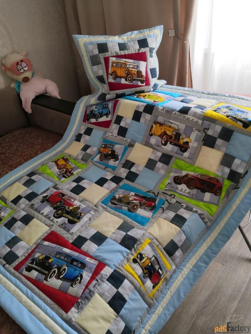 Детское одеяло, наволочка, хэнд-мэйд машинки