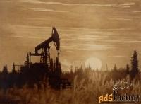 картина нефтью на холсте «на закате»