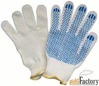 перчатки хб с пвх  4/10 и 5/10 белые и чёрные