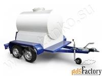 автоцистерна 1150 литров с тормозами на двухосном шасси прицепа