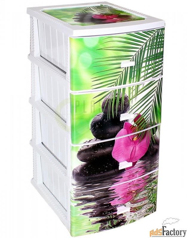 комод с моно рисунком 4 яр. орхидея белый 38 х 47 х 95 см 1/1