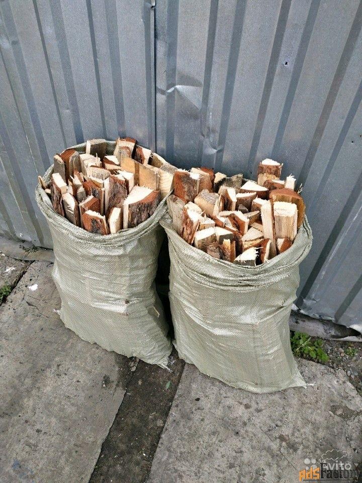 дрова хвойные в мешках, машинами