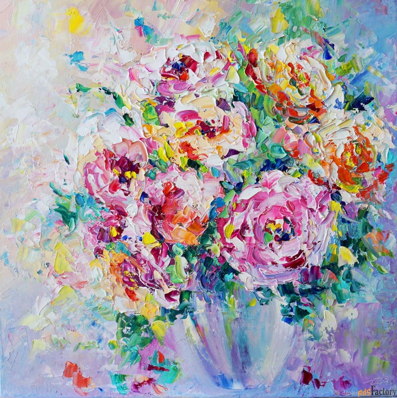 картина с цветами в вазе розовый букет.