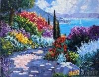 картина с морем и цветами южный пейзаж