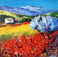 диптих пейзаж с маками прованс цветение маков