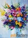 абстрактный букет цветов. голубой. фиолетовый, оранжевый