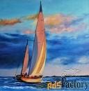 морской пейзаж с яхтой  под парусом»
