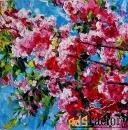 пейзаж с цветущей яблоней цветущая весна. голубой, розовый, белый.