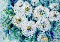 картина маслом с цветами белые розы. белый, бирюзовый, голубой.