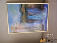 картина из войлокаводопад в золотой рамке