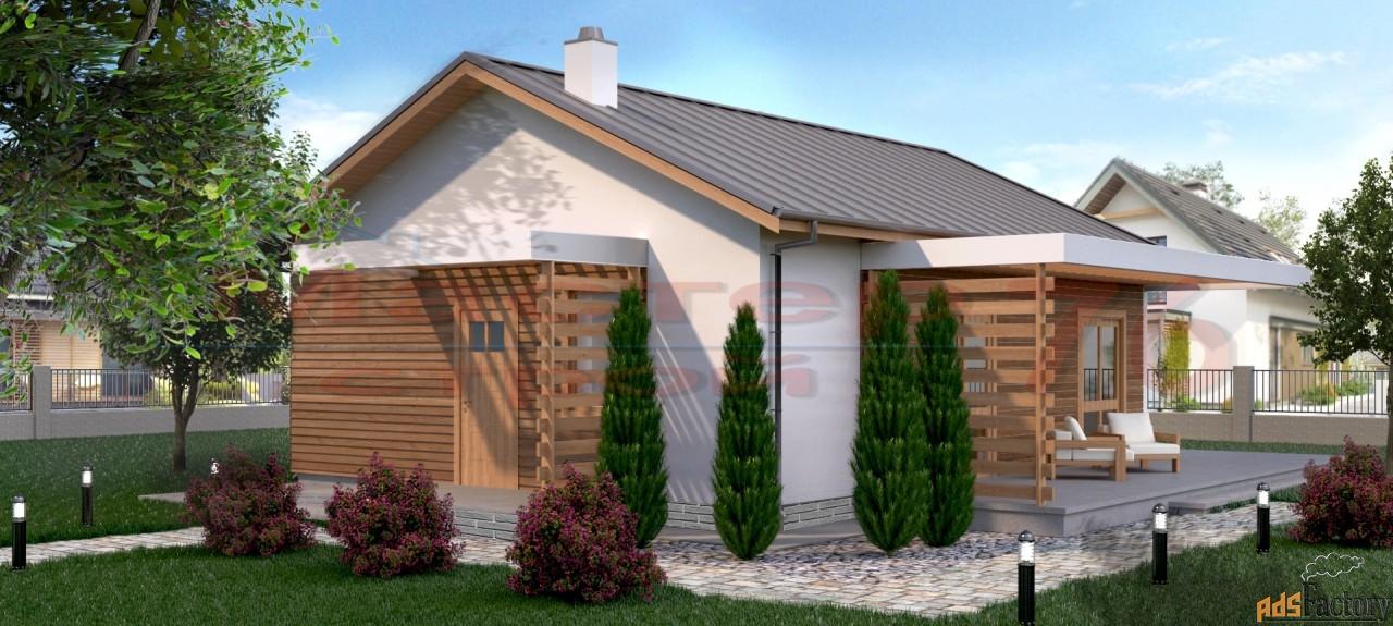 современный одноэтажный дом из пенобетона площадью 126/90 жилых м/2