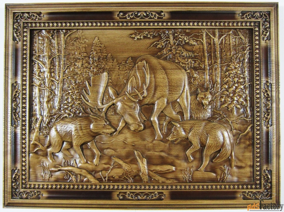картина «лось и волки»
