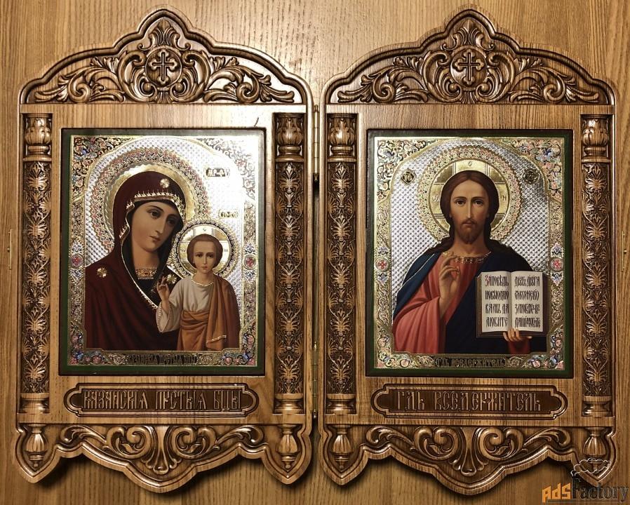 икона венчальная пара складень «казанская и спаситель»