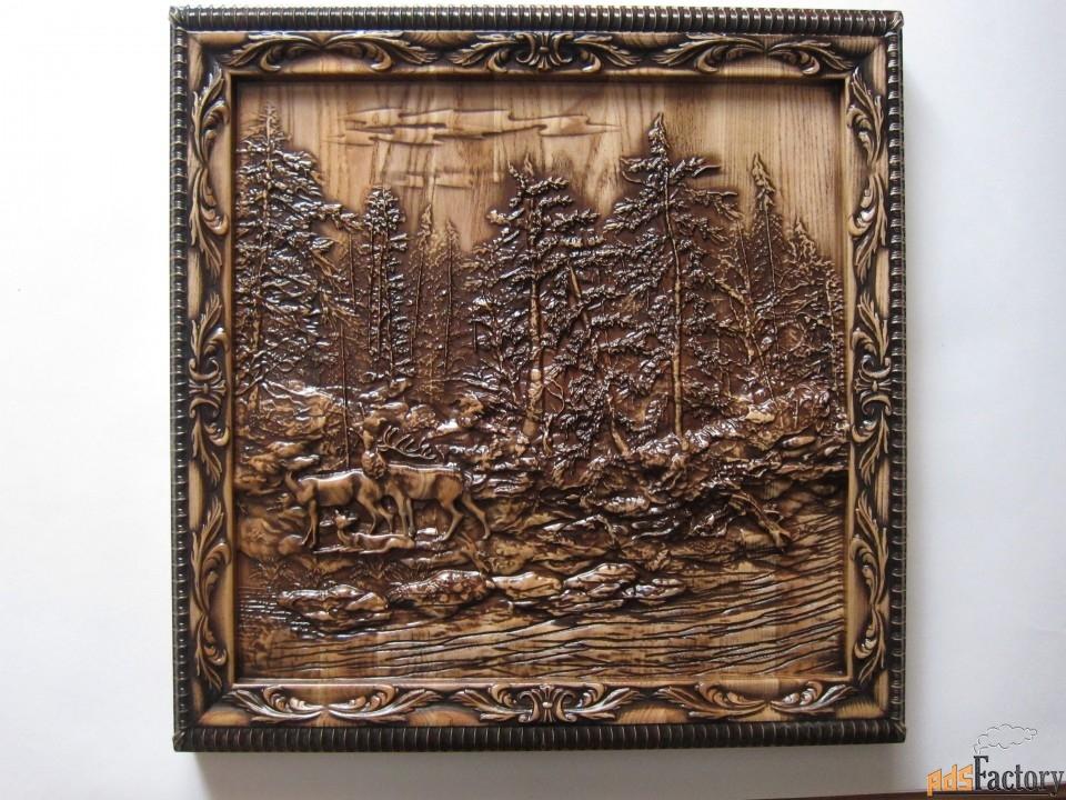 картина панно «олени в лесу»