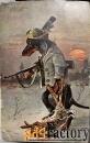 картина «такса на охоте»