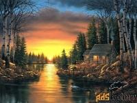 картина «домик у озера»
