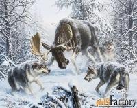 картина «лось и волки» 580х430