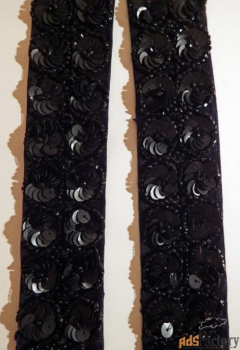 антикварный пояс. вышивка бисером и пайетками