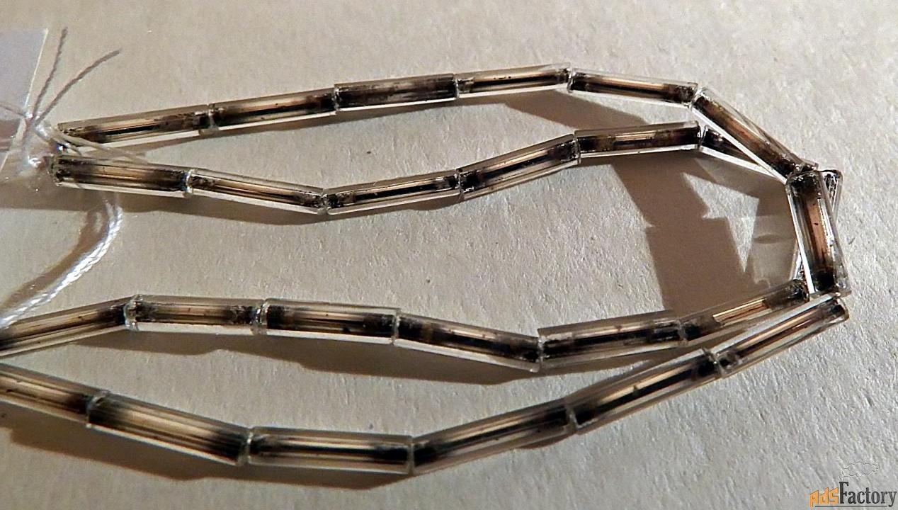 антикварный стеклярус. цвет: серебристый (0,8 см)