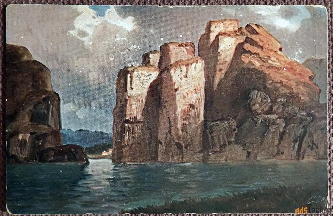 антикварная открытка скалистый берег