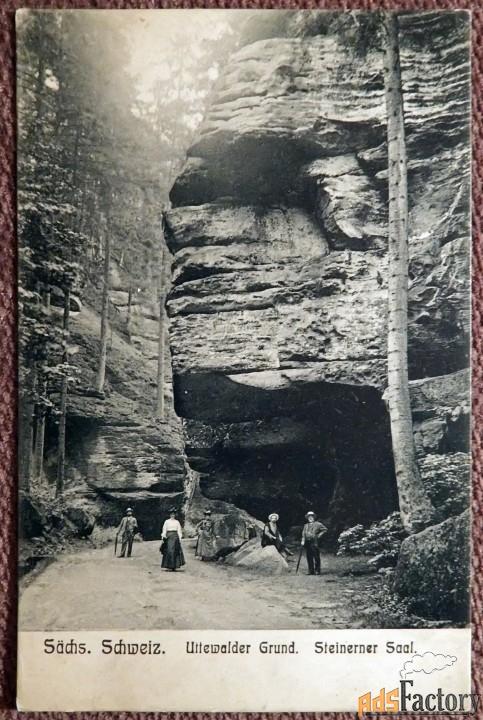 антикварная открытка «путь в уттевальде. саксонская швейцария»