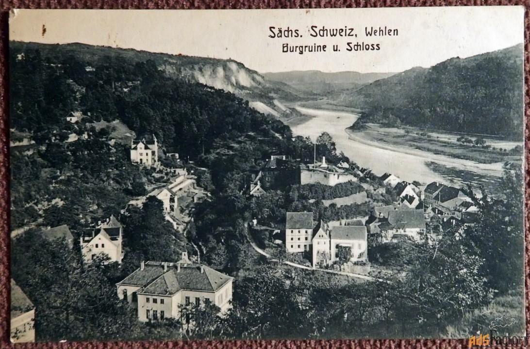 антикварная открытка «вехлен. вид на эльбу» (германия)
