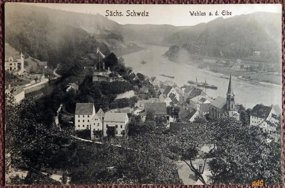 антикварная открытка вехлен. саксонская швейцария (германия)