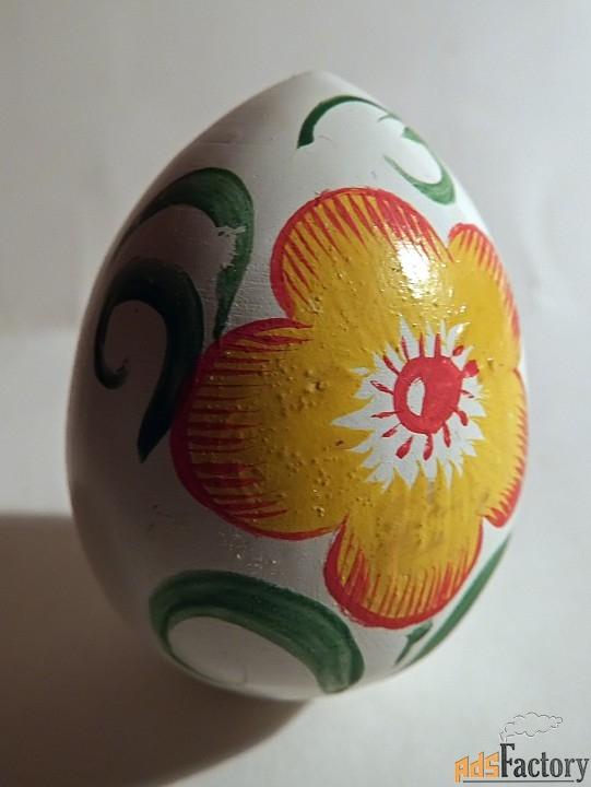 яйцо пасхальное. дерево. ручная роспись. ссср