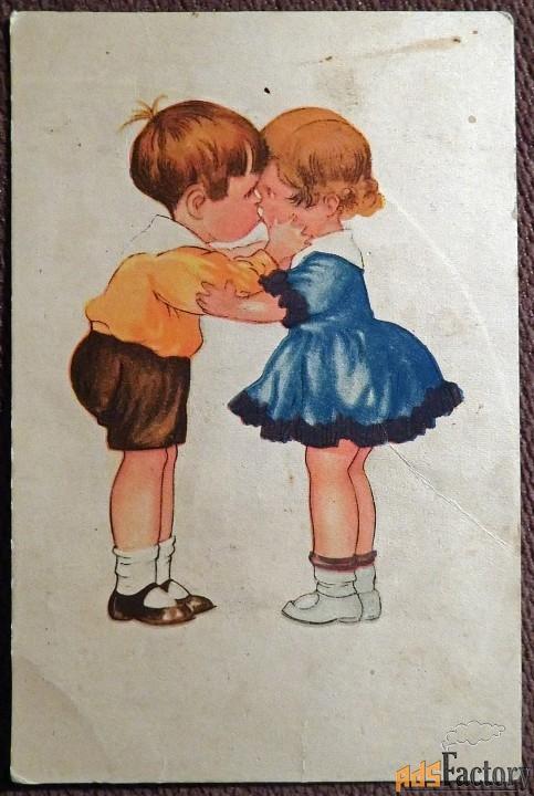 Открытка Первый поцелуй. 1930-е годы