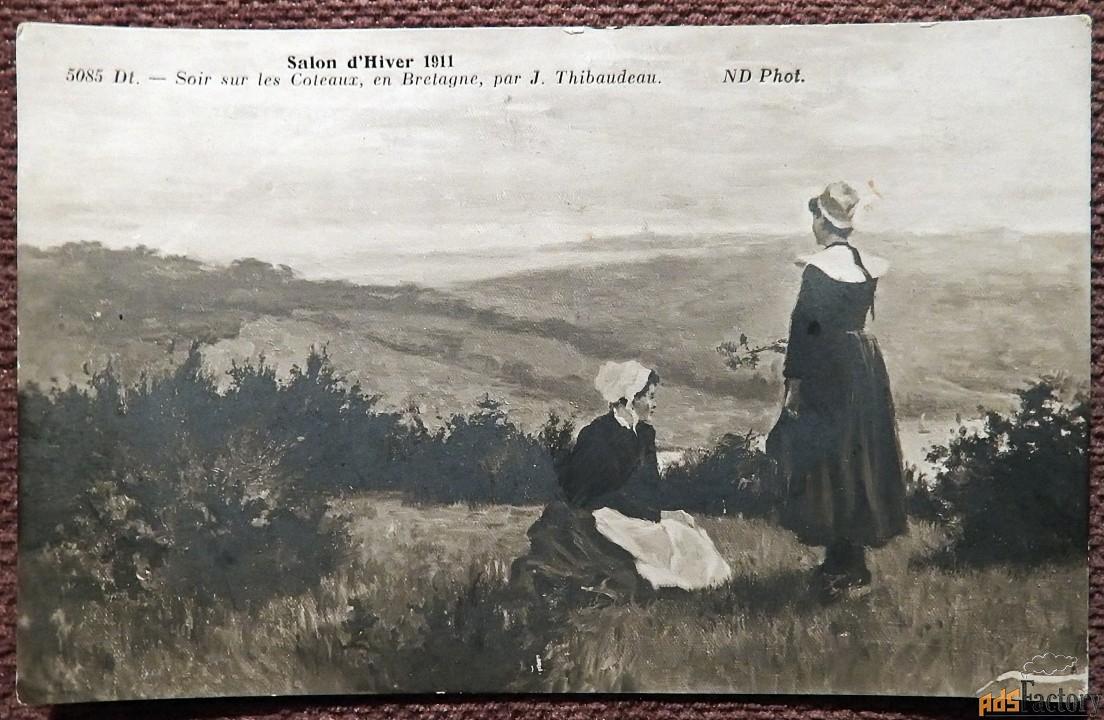 Антикварная открытка. Дж. Тибодо Вечер на склонах в Бретани