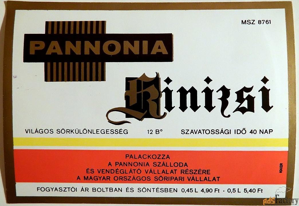 Этикетка. Пиво Pannonia, Венгрия. 1970 год